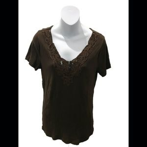 Lauren Ralph Lauren Brown Henley Short Sleeve Top